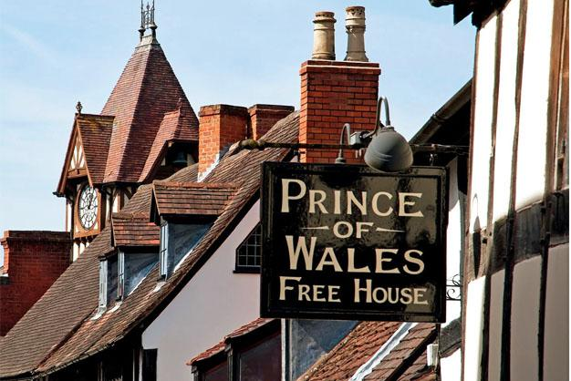 The Prince of Wales Pub in Ledbury, UK - one of many Ledbury Pubs in the pretty Herefordshire town
