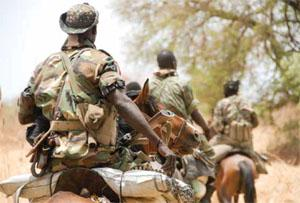 Armed with weapons and a radio, anti- poachinq rangers patrol Zakouma National Park in Chad on horseback - in anticipation of encountering marauding horsemen from Sudan.