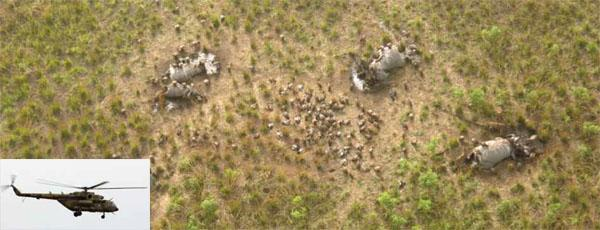 Vultures circle five of the 23 elephants thought to have been killed during an aerial attack in Garamba in April 2012. On two occasions after the incident, this Ugandan military helicopter (INSET) was seen flying low over the park, although Ugandan authorities declined to explain its presence there.