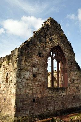 What remains of an old stone chapel